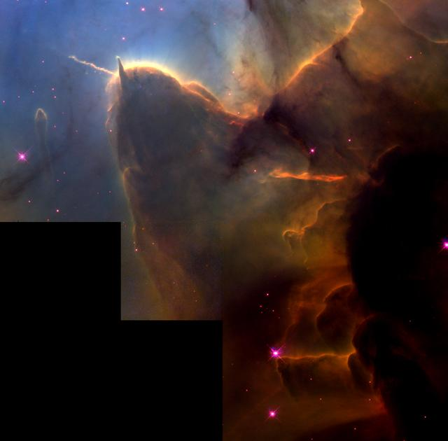 This NASA Hubble Space Telescope (HST) image of the Trifid Nebula reveals a stellar nursery being torn apart by a nearby massive star. Embryonic stars are forming within an ill-fated cloud of dust and gas, which is destined to be eaten away by the glare from the massive neighbor. The cloud is about 8 light years away from the nebula' s central star. This stellar activity is a beautiful example of how the life cycle of stars like our Sun is intimately cornected with their more powerful siblings. Residing in the constellation Sagittarius, the Trifid Nebula is about 9,000 light years from Earth.