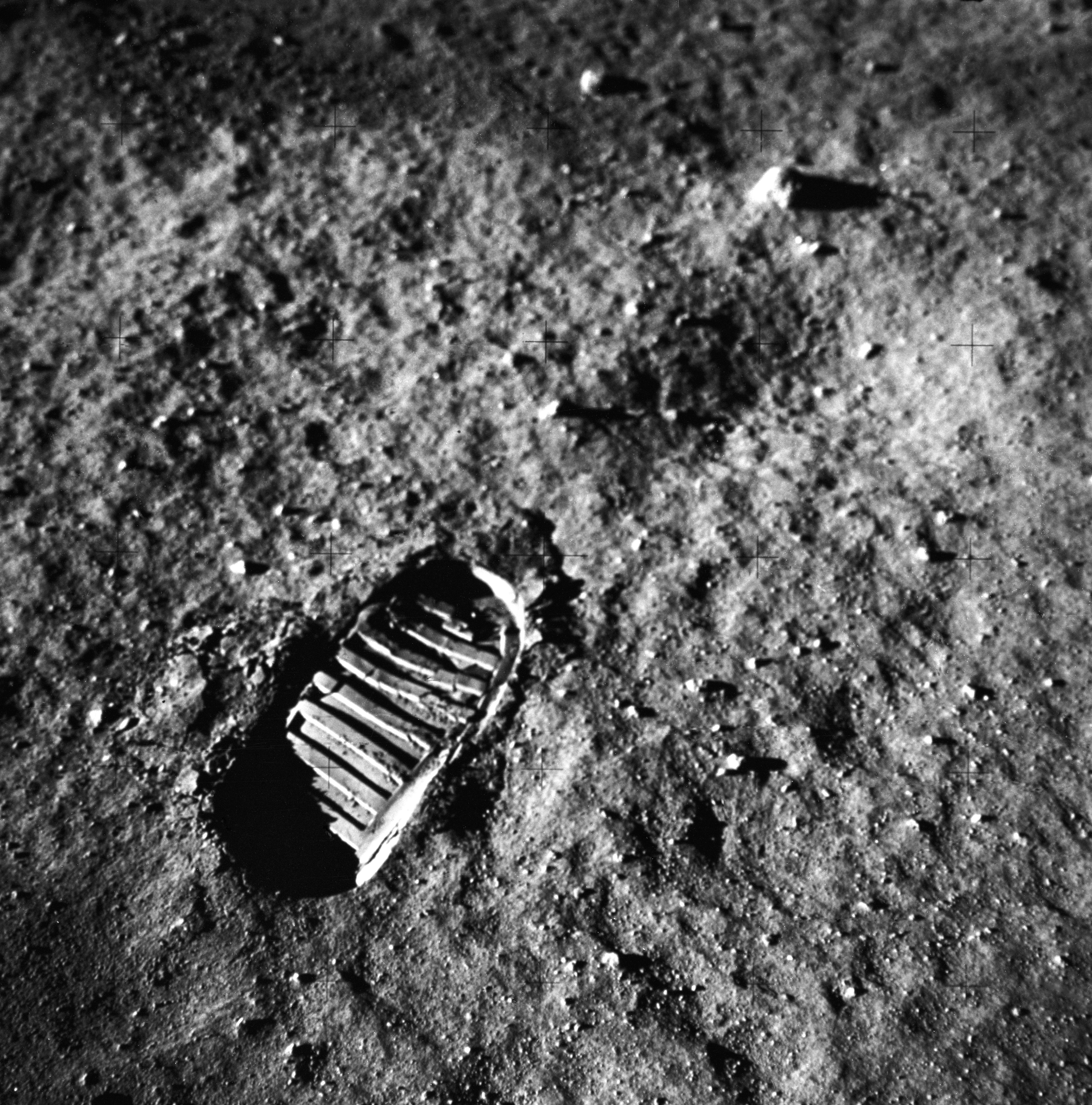 A close-up view of an astronaut's footprint in the lunar soil, created 1969-07-20