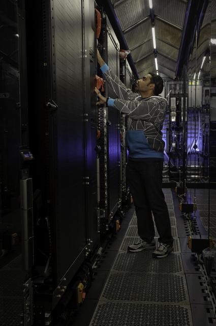 Nebula Containerized Server at the NASA Ames Research Center. Interior with Mahendran Kadannapalli.