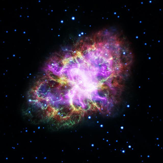 Astronomers have produced a highly detailed image of the Crab Nebula, by combining data from telescopes spanning nearly the entire breadth of the electromagnetic spectrum, from radio waves seen by the Karl G. Jansky Very Large Array (VLA) to the powerful X-ray glow as seen by the orbiting Chandra X-ray Observatory. And, in between that range of wavelengths, the Hubble Space Telescope's crisp visible-light view, and the infrared perspective of the Spitzer Space Telescope.  This composite image of the Crab Nebula, a supernova remnant, was assembled by combining data from five telescopes spanning nearly the entire breadth of the electromagnetic spectrum: the Very Large Array, the Spitzer Space Telescope, the Hubble Space Telescope, the XMM-Newton Observatory, and the Chandra X-ray Observatory.  Credits: NASA, ESA, NRAO/AUI/NSF and G. Dubner (University of Buenos Aires) #nasagoddard #space #science