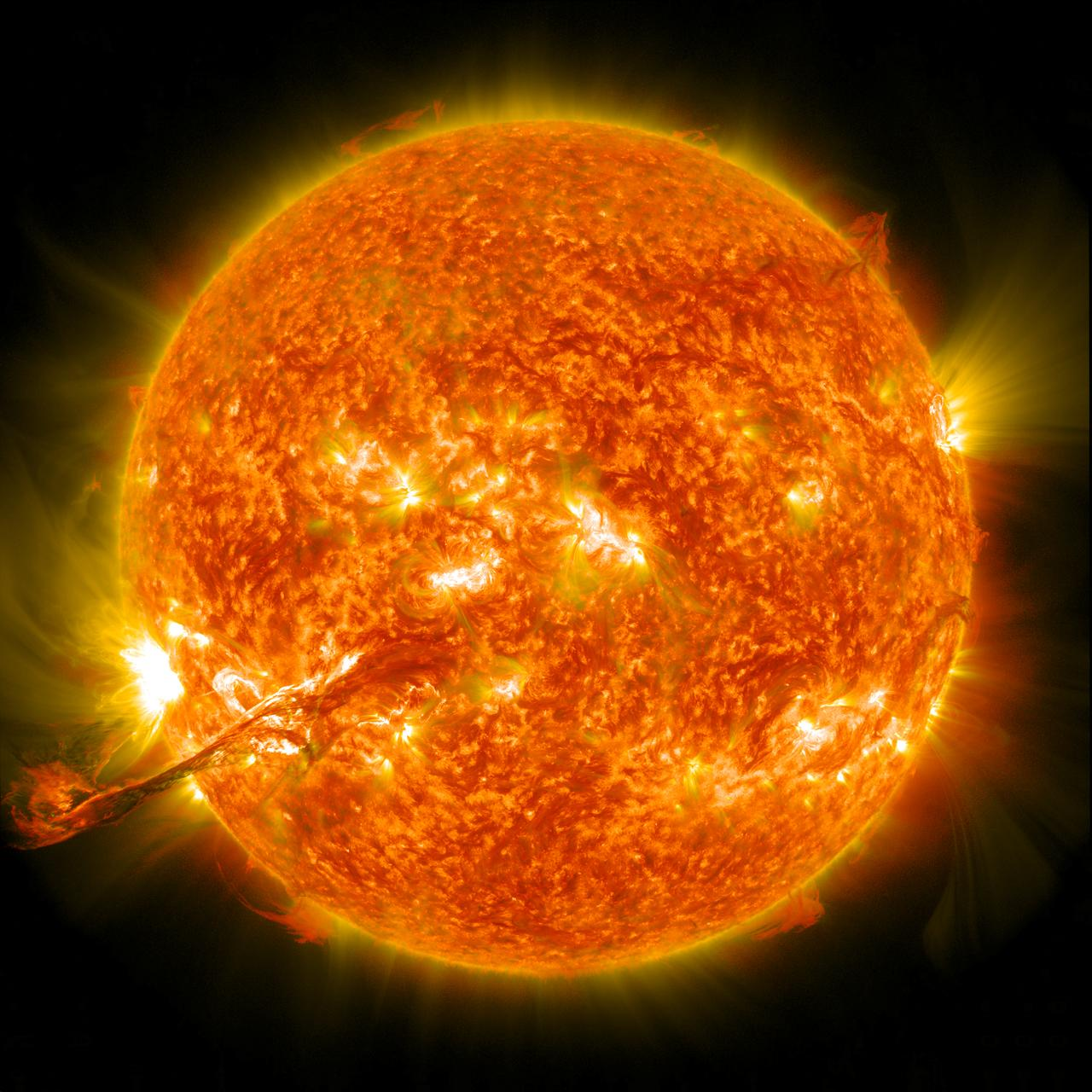 "On August 31, 2012 a long filament of solar material that had been hovering in the sun's atmosphere, the corona, erupted out into space at 4:36 p.m. EDT. The coronal mass ejection, or CME, traveled at over 900 miles per second. The CME did not travel directly toward Earth, but did connect with Earth's magnetic environment, or magnetosphere, causing aurora to appear on the night of Monday, September 3.   This is a a lighten blended version of the 304 and 171 angstrom wavelengths.  Credit: NASA/GSFC/SDO  <b><a href=""http://www.nasa.gov/audience/formedia/features/MP_Photo_Guidelines.html"" rel=""nofollow"">NASA image use policy.</a></b>  <b><a href=""http://www.nasa.gov/centers/goddard/home/index.html"" rel=""nofollow"">NASA Goddard Space Flight Center</a></b> enables NASA's mission through four scientific endeavors: Earth Science, Heliophysics, Solar System Exploration, and Astrophysics. Goddard plays a leading role in NASA's accomplishments by contributing compelling scientific knowledge to advance the Agency's mission.  <b>Follow us on <a href=""http://twitter.com/NASAGoddardPix"" rel=""nofollow"">Twitter</a></b>  <b>Like us on <a href=""http://www.facebook.com/pages/Greenbelt-MD/NASA-Goddard/395013845897?ref=tsd"" rel=""nofollow"">Facebook</a></b>  <b>Find us on <a href=""http://instagrid.me/nasagoddard/?vm=grid"" rel=""nofollow"">Instagram</a></b>"