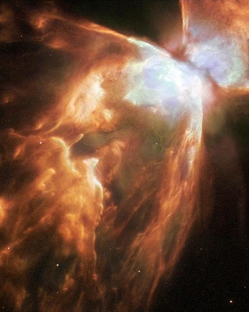 """Release Date: May 3, 2004  A Dying Star Shrouded by a Blanket of Hailstones Forms the Bug Nebula (NGC 6302)  The Bug Nebula, NGC 6302, is one of the brightest and most extreme planetary nebulae known. The fiery, dying star at its center is shrouded by a blanket of icy hailstones. This NASA Hubble Wide Field Plantery Camera 2 image shows impressive walls of compressed gas, laced with trailing strands and bubbling outflows. Object Names: NGC 6302, Bug Nebula Image Type: Astronomical  Credit: NASA, ESA and A.Zijlstra (UMIST, Manchester, UK)  To learn more about this image go to:  <a href=""""http://hubblesite.org/gallery/album/nebula/pr2004046a/"""" rel=""""nofollow"""">hubblesite.org/gallery/album/nebula/pr2004046a/</a>   <b><a href=""""http://www.nasa.gov/audience/formedia/features/MP_Photo_Guidelines.html"""" rel=""""nofollow"""">NASA image use policy.</a></b>  <b><a href=""""http://www.nasa.gov/centers/goddard/home/index.html"""" rel=""""nofollow"""">NASA Goddard Space Flight Center</a></b> enables NASA's mission through four scientific endeavors: Earth Science, Heliophysics, Solar System Exploration, and Astrophysics. Goddard plays a leading role in NASA's accomplishments by contributing compelling scientific knowledge to advance the Agency's mission.  <b>Follow us on <a href=""""http://twitter.com/NASAGoddardPix"""" rel=""""nofollow"""">Twitter</a></b>  <b>Like us on <a href=""""http://www.facebook.com/pages/Greenbelt-MD/NASA-Goddard/395013845897?ref=tsd"""" rel=""""nofollow"""">Facebook</a></b>  <b>Find us on <a href=""""http://instagram.com/nasagoddard?vm=grid"""" rel=""""nofollow"""">Instagram</a></b>"""