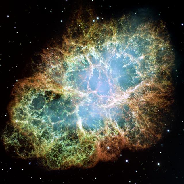 """The Crab Nebula is a supernova remnant, all that remains of a tremendous stellar explosion. Observers in China and Japan recorded the supernova nearly 1,000 years ago, in 1054.  Credit: NASA, ESA, J. Hester and A. Loll (Arizona State University)  The Hubble Space Telescope is a project of international cooperation between NASA and the European Space Agency. NASA's Goddard Space Flight Center manages the telescope. The Space Telescope Science Institute conducts Hubble science operations.    Goddard is responsible for HST project management, including mission and science operations, servicing missions, and all associated development activities.  To learn more about the Hubble Space Telescope go here:  <a href=""""http://www.nasa.gov/mission_pages/hubble/main/index.html"""" rel=""""nofollow"""">www.nasa.gov/mission_pages/hubble/main/index.html</a>   <b><a href=""""http://www.nasa.gov/centers/goddard/home/index.html"""" rel=""""nofollow"""">NASA Goddard Space Flight Center</a></b>  is home to the nation's largest organization of combined scientists, engineers and technologists that build spacecraft, instruments and new technology to study the Earth, the sun, our solar system, and the universe.  <b>Follow us on <a href=""""http://twitter.com/NASA_GoddardPix"""" rel=""""nofollow"""">Twitter</a></b>  <b>Join us on <a href=""""http://www.facebook.com/pages/Greenbelt-MD/NASA-Goddard/395013845897?ref=tsd"""" rel=""""nofollow"""">Facebook</a><b> </b></b>"""