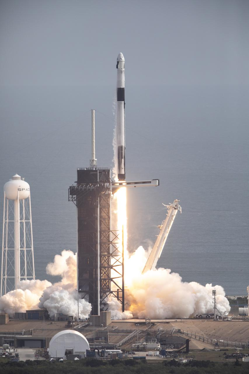 A SpaceX Falcon 9 rocket lifts off from Launch Complex 39A at NASA's Kennedy Space Center in Florida at 10:30 a.m. EST on Jan. 19, 2020, carrying the Crew Dragon spacecraft on the company's uncrewed In-Flight Abort Test. The flight test demonstrated the spacecraft's escape capabilities in preparation for crewed flights to the International Space Station as part of the agency's Commercial Crew Program.