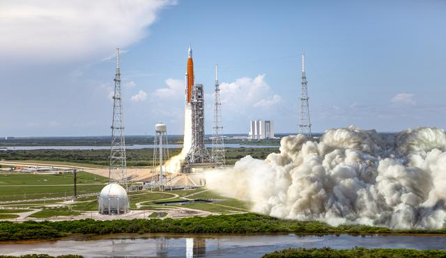 The following artist rendering shows NASA's Space Launch System (SLS) rocket and Orion spacecraft lifting off from Kennedy Space Center's Launch Pad 39B for the Artemis I mission -- an uncrewed test flight that will provide a foundation for human deep space exploration.