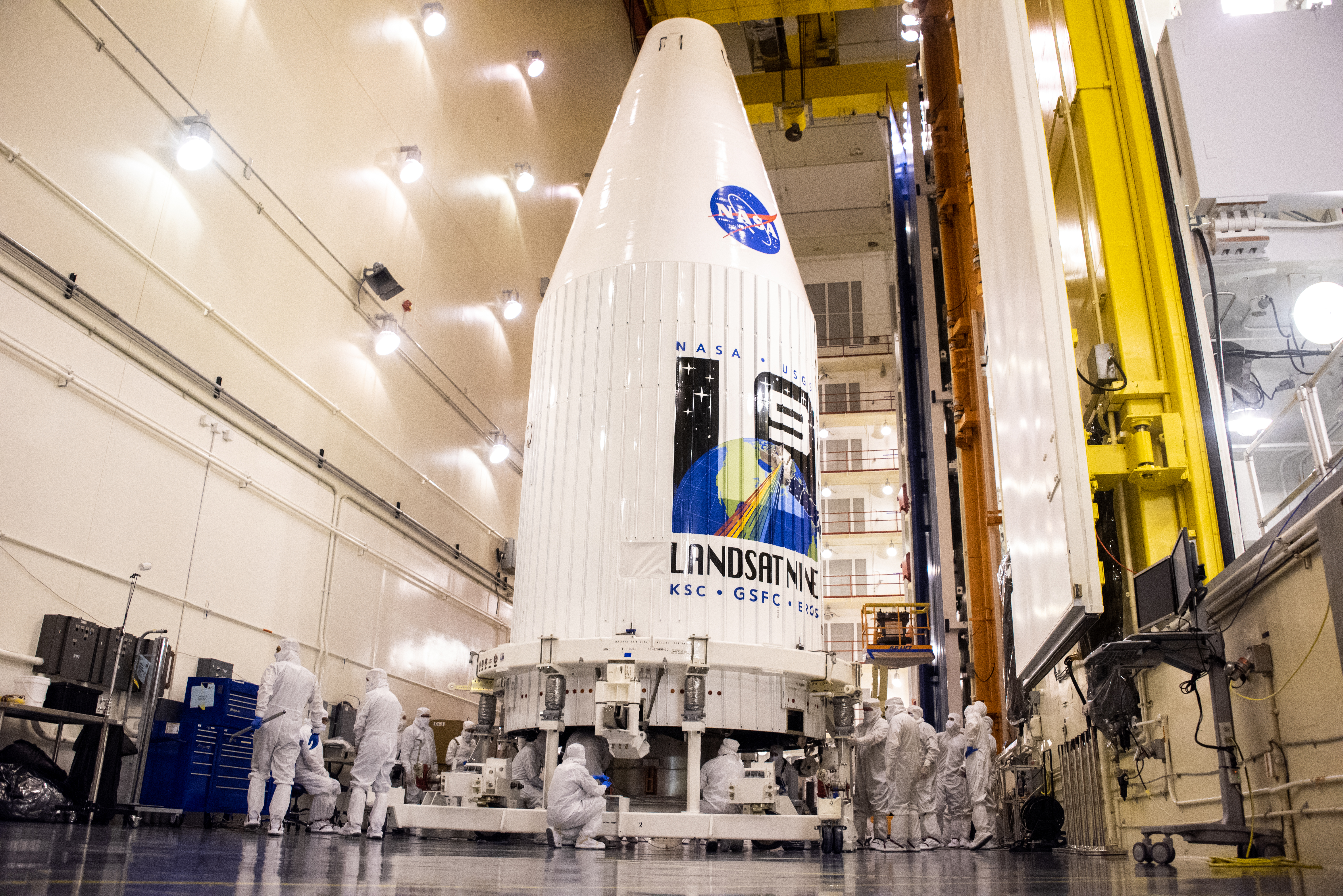 The Landsat 9 spacecraft inside the Integrated Processing Facility at Vandenberg Space Force Base in California