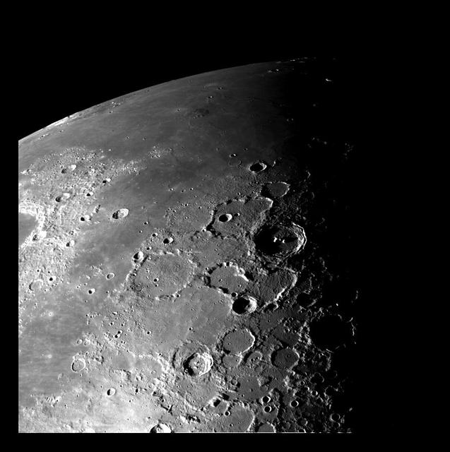 This view of the north polar region of the Moon was obtained by NASA Galileo camera during the spacecraft flyby of the Earth-Moon system on December 7 and 8, 1992.