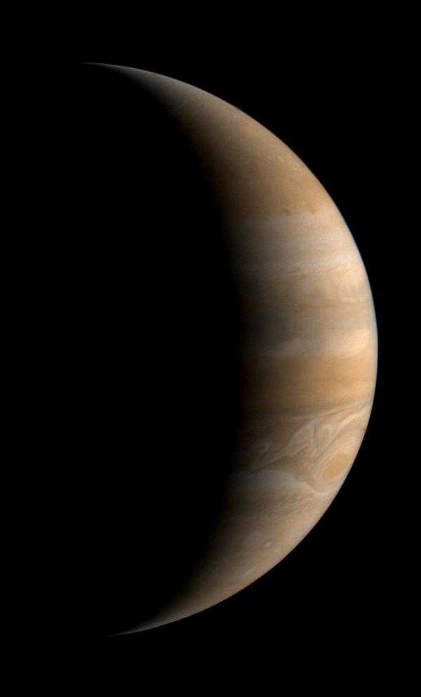 This crescent view of Jupiter was taken by NASA Voyager 1 on Mar. 24, 1979.