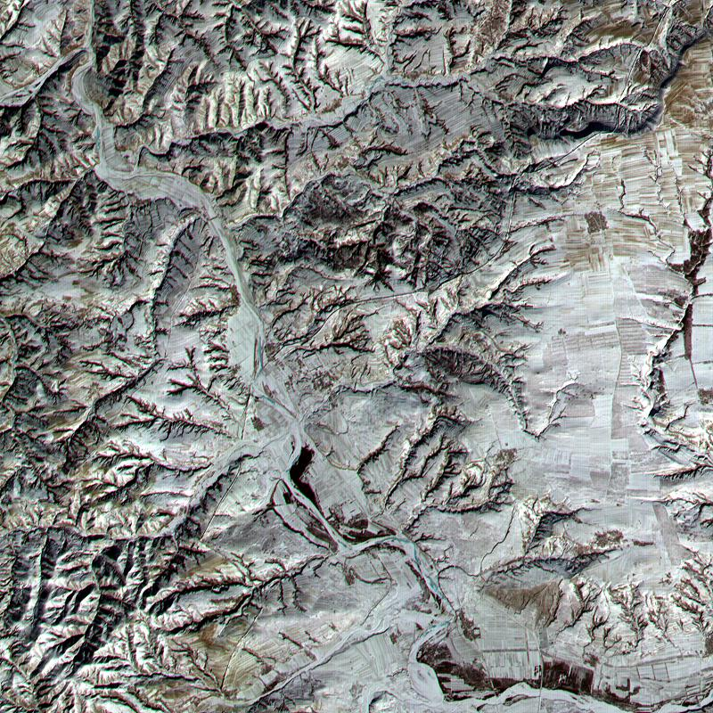 NASA Terra satellite captured this image of the Great Wall of China in the northern Shanxi Province on January 9, 2001.
