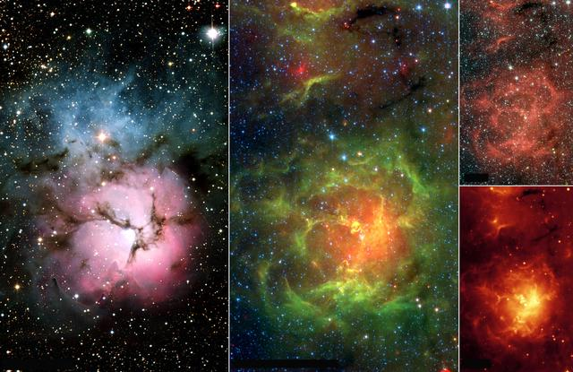 """This image composite compares the well-known visible-light picture of the glowing Trifid Nebula (left panel) with infrared views from NASA's Spitzer Space Telescope (remaining three panels). The Trifid Nebula is a giant star-forming cloud of gas and dust located 5,400 light-years away in the constellation Sagittarius.  The false-color Spitzer images reveal a different side of the Trifid Nebula. Where dark lanes of dust are visible trisecting the nebula in the visible-light picture, bright regions of star-forming activity are seen in the Spitzer pictures. All together, Spitzer uncovered 30 massive embryonic stars and 120 smaller newborn stars throughout the Trifid Nebula, in both its dark lanes and luminous clouds. These stars are visible in all the Spitzer images, mainly as yellow or red spots. Embryonic stars are developing stars about to burst into existence. Ten of the 30 massive embryos discovered by Spitzer were found in four dark cores, or stellar """"incubators,"""" where stars are born. Astronomers using data from the Institute of Radioastronomy millimeter telescope in Spain had previously identified these cores but thought they were not quite ripe for stars. Spitzer's highly sensitive infrared eyes were able to penetrate all four cores to reveal rapidly growing embryos.  http://photojournal.jpl.nasa.gov/catalog/PIA07225"""