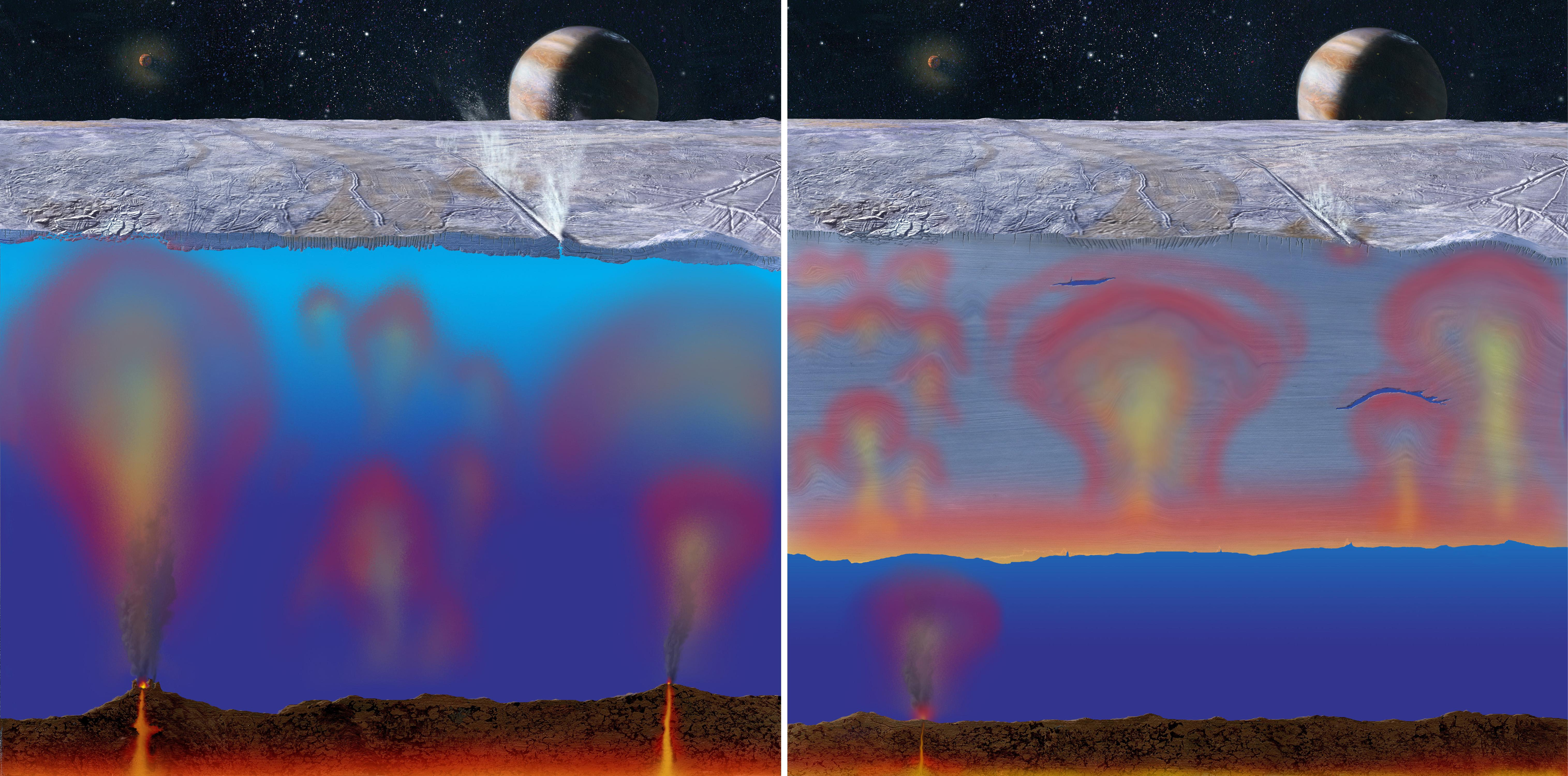 thick or thin ice shell on europa artist concept nasa image and