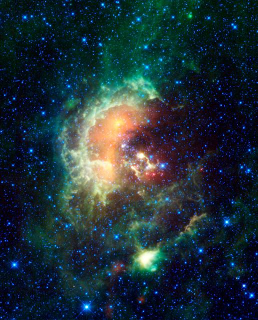 A new infrared image from NASA Wide-field Infrared Survey Explorer, or WISE, showcases the Tadpole nebula, and asteroids that just happened to be cruising by.