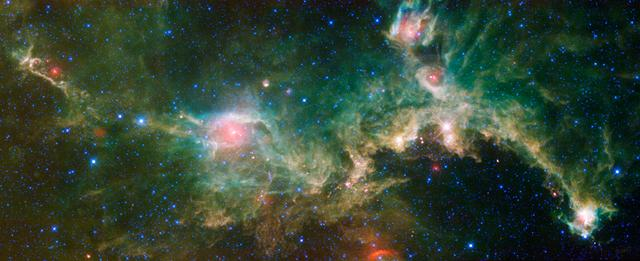 The Seagull nebula, seen in this infrared mosaic from NASA Wide-field Infrared Survey Explorer, draws its common name from it resemblance to a gull in flight.