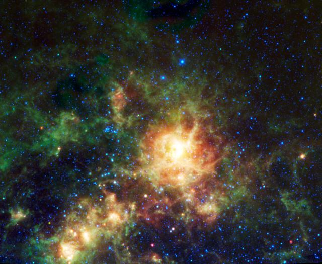 Sending chills down the spine of all arachnophobes is the Tarantula nebula, seen in this image from NASA Wide-field Infrared Survey Explorer; the nebula is the largest star-forming region known in our entire Local Group of galaxies.