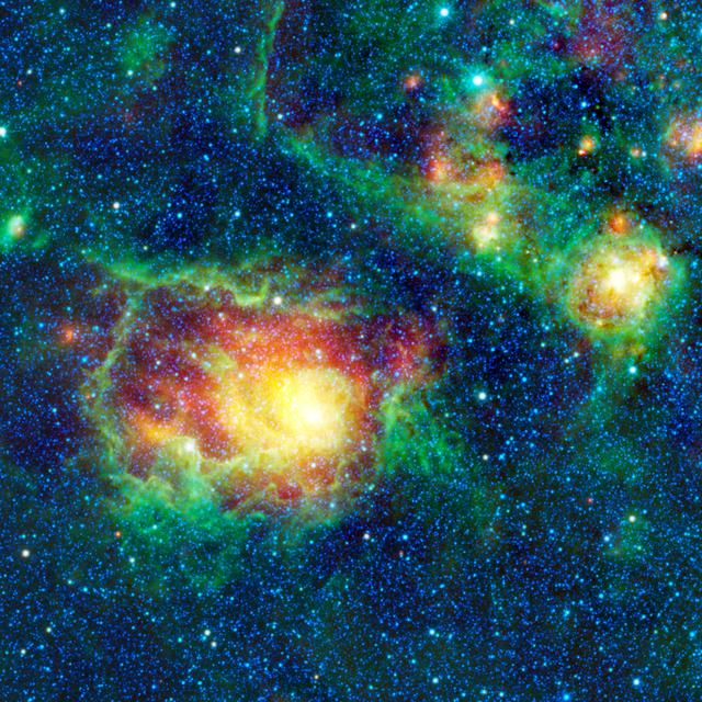 This colorful picture is a mosaic of Messier 8, or the Lagoon nebula, taken by NASA Wide-field Infrared Survey Explorer. This nebula is composed of clouds of gas and dust in which new stars are forming.
