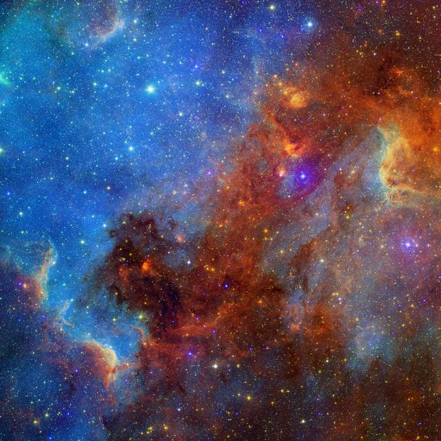 This view of the North America nebula combines both visible and infrared light observations, taken by the Digitized Sky Survey and NASA Spitzer Space Telescope. Clusters of young stars about one million years old can be found throughout the image.