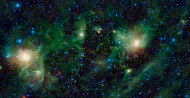 This image from NASA Wide-field Infrared Survey Explorer, shows three different nebulae located in the constellation of Perseus. NGC 1491 is seen on the right side of the image, SH 2-209 is on the left side and BFS 34 lies in between.