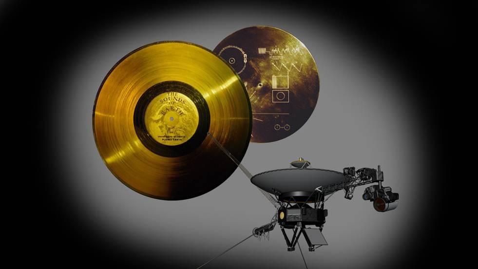 This image highlights the special cargo onboard NASA Voyager spacecraft: the Golden Record. Each of the two Voyager spacecraft launched in 1977 carry a 12-inch gold-plated phonograph record with images and sounds from Earth. Photo courtesy NASA