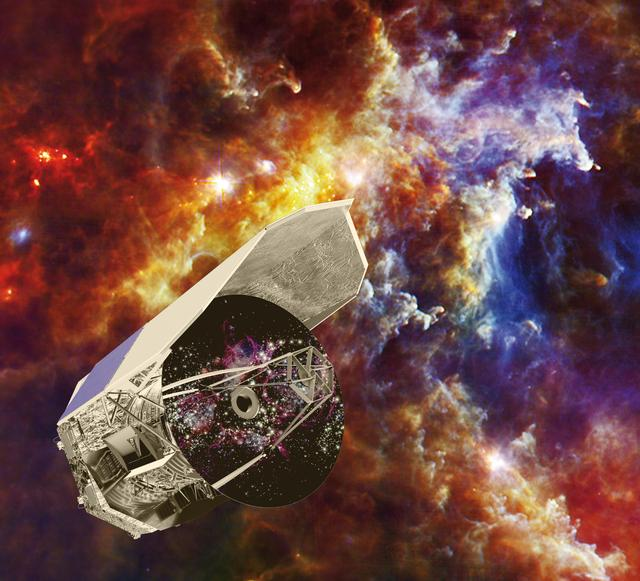 Artist impression of Herschel is set against an image captured by the observatory, showing baby stars forming in the Rosette nebula. The bright spots are dusty cocoons containing massive forming stars, each one up to ten times the mass of our own sun.
