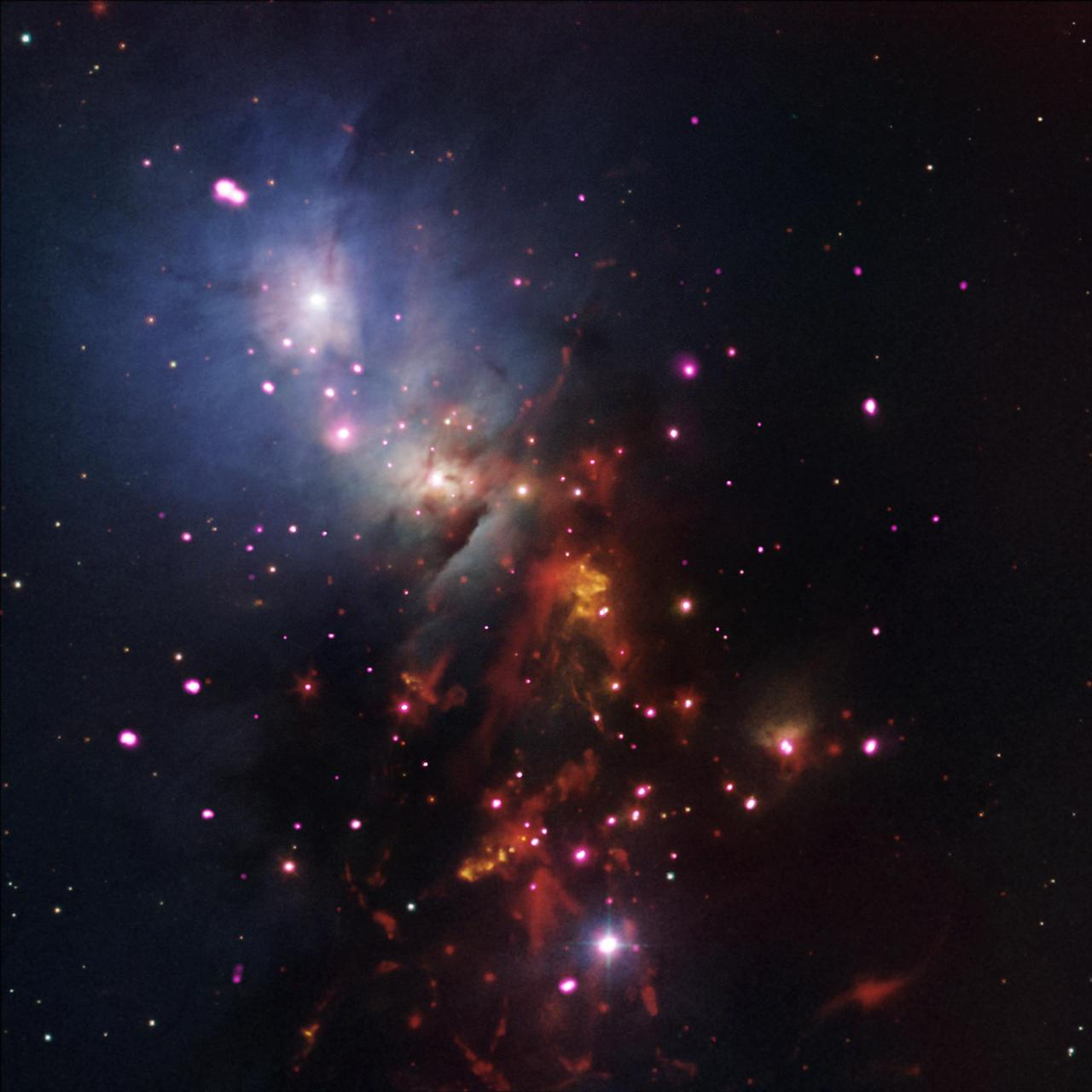 This image, containing data from NASA Spitzer and Chandra space telescopes, shows a cluster of young stars expected to burn for billions of years.