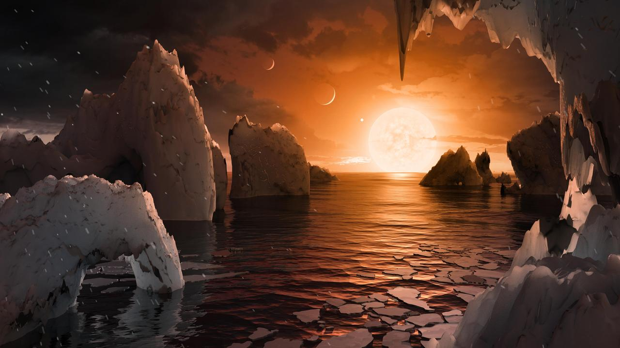Imagine standing on the surface of the exoplanet TRAPPIST-1f. This artist concept is one interpretation of what it could look like.