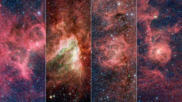 These four nebulae (star-forming clouds of gas and dust) are known for their breathtaking beauty: the Eagle Nebula (which contains the Pillars of Creation), the Omega Nebula, the Trifid Nebula, and the Lagoon Nebula. In the 1950s, a team of astronomers made rough distance measurements to some of the stars in these nebulae and were able to infer the existence of the Sagittarius Arm. Their work provided some of the first evidence of our galaxy's spiral structure. In a new study, astronomers have shown that these nebulae are part of a substructure within the arm that is angled differently from the rest of the arm.      A key property of spiral arms is how tightly they wind around a galaxy. This characteristic is measured by the arm's pitch angle. A circle has a pitch angle of 0 degrees, and as the spiral becomes more open, the pitch angle increases. Most models of the Milky Way suggest that the Sagittarius Arm forms a spiral that has a pitch angle of about 12 degrees, but the protruding structure has a pitch angle of nearly 60 degrees.      Similar structures – sometimes called spurs or feathers – are commonly found jutting out of the arms of other spiral galaxies. For decades scientists have wondered whether our Milky Way's spiral arms are also dotted with these structures or if they are relatively smooth.  https://photojournal.jpl.nasa.gov/catalog/PIA24577