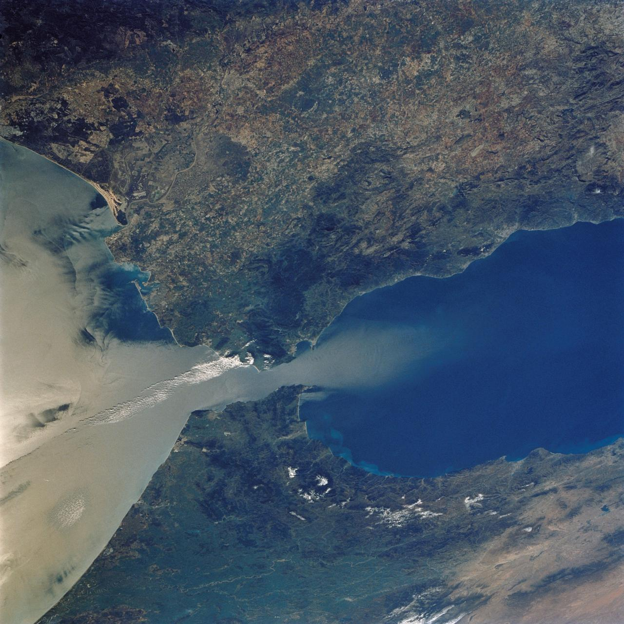Straight of Gibraltar as seen from space. No trace of Atlantis island around the area.